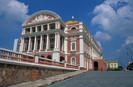 Pink and white opera house in the middle of the Amazon at Manaus, Brazil