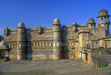 madhya: Imposing Man Mandir Palace inlaid with blue turquoise. Gwalior, Madhya Pradesh, India Stock Photo