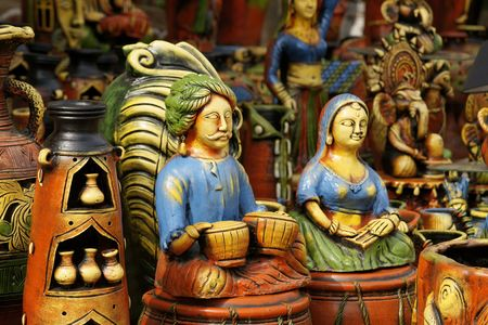 Colorful Pottery At An Indian Craft Fair Stock Photo - 6059995