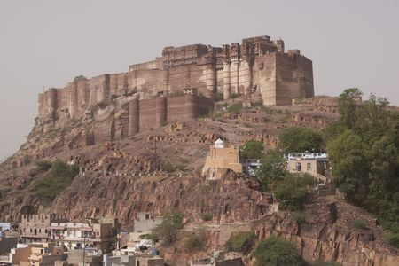 impregnable: Meherangarh Fort. Huge impregnable fortress on top of hill. Jodhpur, India Stock Photo