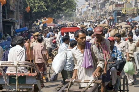 chaos: Old Delhi India - September 27, 2006: Crowded street scene in Old Delhi, India.