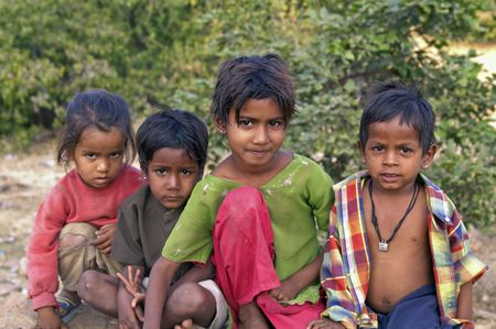 Chittaugarh, Rajasthan, India - November 14, 2007: Group of Indian street urchins.