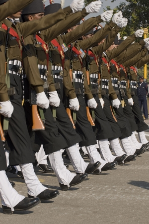 Delhi, India - January 23, 2008: Soldiers of the Indian Army march down the Raj Path in preparation for the Republic Day Parade in Delhi, India