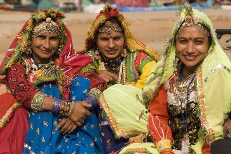 sarujkund: Haryana, India - February 7, 2008: Group of female tribal dancers at the Sarujkund Fair near Delhi, India
