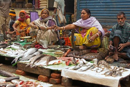 Calcutta, West Bengal, India - December 18, 2008: Fishmongers selling fish at a street market in the Chowringhee area of Kolkata, West Bengal, India.