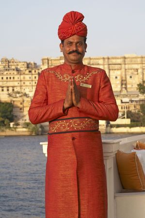 rajasthan: Udaipur, Rajasthan, India - June 14, 2007: Indian welcome from doorman of a luxury hotel in Udaipur, Rajasthan, India