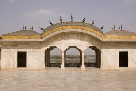 marble palace: Mogul style white marble palace with golden roof set in formal gardens. Red Fort, Agra, India