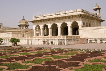 marble palace: Mogul style white marble palace set in formal gardens. Red Fort, Agra, India
