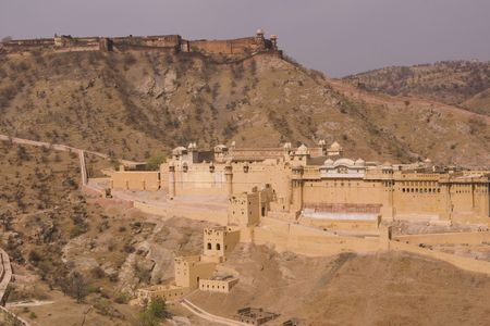Panoramic view of Amber Fort with Jaigarh Fort sitting on the hilltop above. Near Jaipur, Rajasthan, India  photo