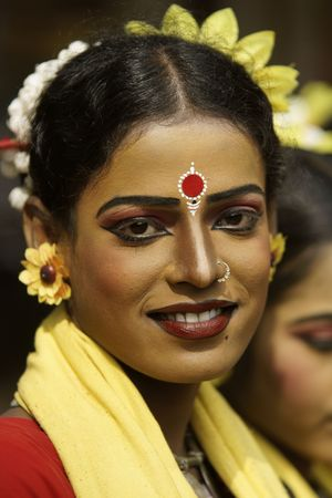 Haryana, India - February 12, 2009: Indian dancer in traditional tribal outfit at the Sarujkund Craft Fair in Haryana near Delhi, India.