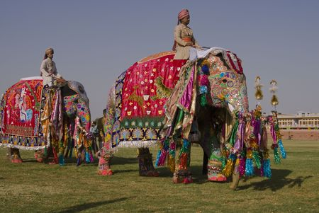 mahout: Jaipur, India - March 21, 2008: Decorated elephants on parade at the annual elephant festival in Jaipur, India Editorial