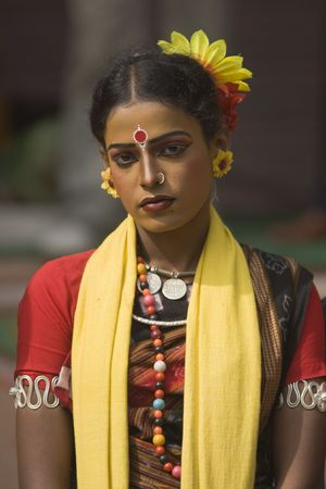 sarujkund: Haryana, India - February 12, 2009: Indian dancer in traditional tribal outfit at the Sarujkund Craft Fair in Haryana near Delhi, India.