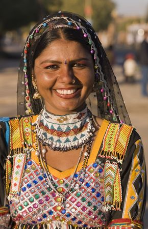 Jaisalmer, India - February 19, 2008: Indian lady kalbelia dancer dressed at the Desert Festival, Jaisalmer, Rajasthan, Indi Stock Photo - 7115258