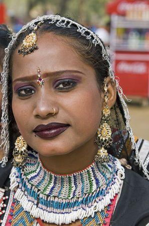 Haryana, India - February 7, 2008: Indian women dancer from Rajastha