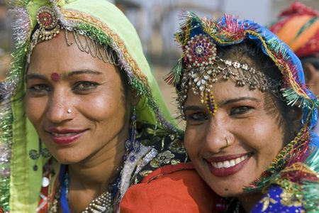 Haryana, India - February 7, 2008: Indian women dancers from Rajasthan