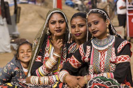 Haryana, India - February 7, 2008: Indian women dancers from Rajasthan