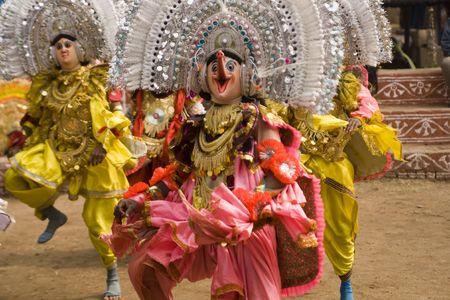 elaborate: Haryana, India - February 3, 2008: Group of Indian dancers in elaborate costumes and masks