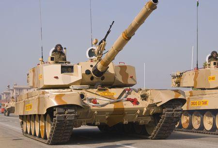 Delhi, India - January 20, 2008: Army tanks practice for the annual Republic Day Parade in Delhi, India Stock Photo - 7278085
