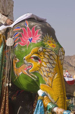 Decorated elephant at the annual elephant festival in Jaipur, India Zdjęcie Seryjne
