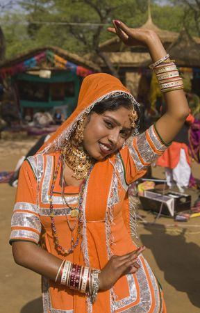 sarujkund: Kalbelia dancer from the Jaipur area of Rajasthan performing at the annual Sarujkund Fair on the outskirts of Delhi, India