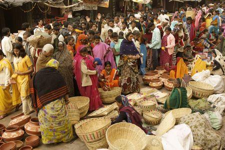 Orchha, Madhya Pradesh, India - January 14, 2009: Crowded market during a Hindu festival in Orchha, Madhya Pradesh, India.