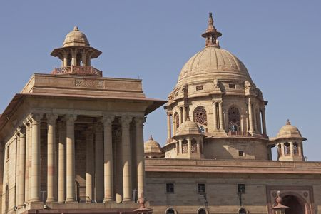 delhi: Indian Government buildings built originally during British colonial rule. Raj Path, New Delhi, India. Built circa 1931 AD