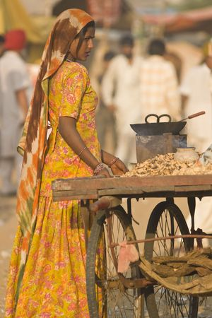 Pushkar, Rajasthan, India - November 9, 2008: Indian woman selling roasted nuts from a cart at the annual camel fair in Pushkar, Rajasthan, India.