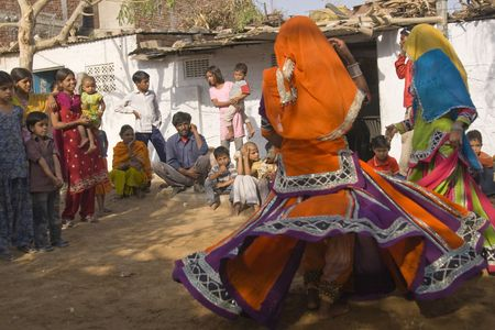 Jaipur, India - March 9, 2009:Tribal dancers perform for local people in Jaipur, India.