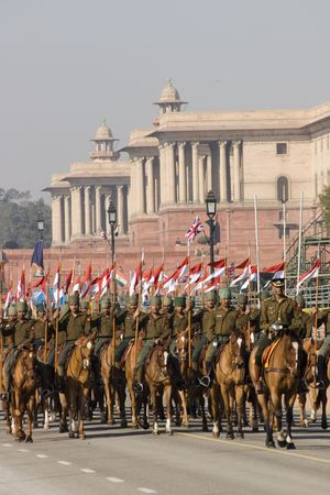 Delhi, India - January 21, 2008: Cavalry parading down the Raj Path in preparation for Republic Day Parade, New Delhi, India Stock Photo - 8194264