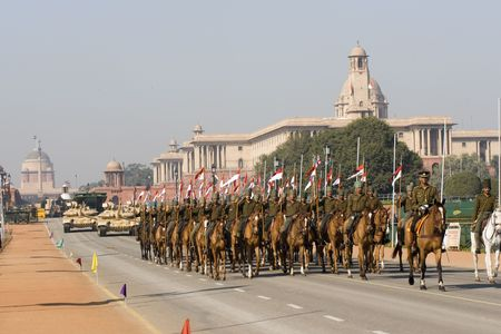 Delhi, India - January 21, 2008: Cavalry parading down the Raj Path in preparation for Republic Day Parade, New Delhi, India Stock Photo - 8194270