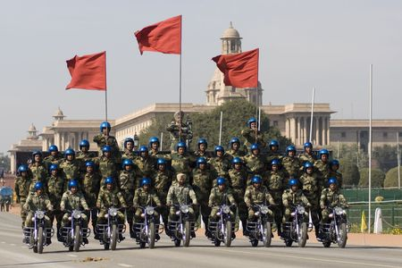 Delhi, India - January 21, 2008: Motorbike display team of the Indian Army riding down the Raj Path in preparation for the Republic Day Parade in Delhi, India