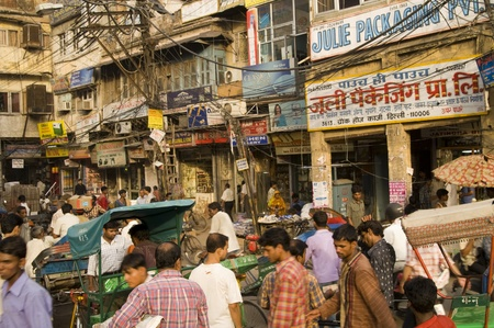 Delhi, India - May 25, 2006: Crowded Indian street scene in Old Delhi, India
