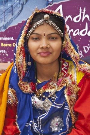 haryana: Haryana, India - February 15, 2007: Indian dancer in traditional dress