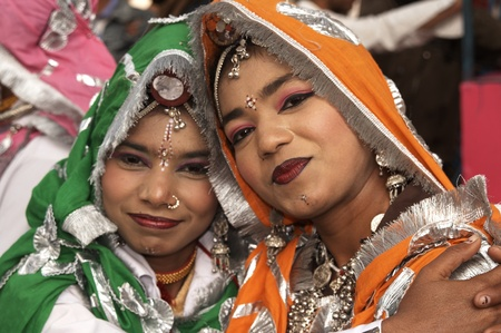 sarujkund: Haryana, India - February 15, 2007: Indian women in tribal dress at the Surajkund Fair Haryana India