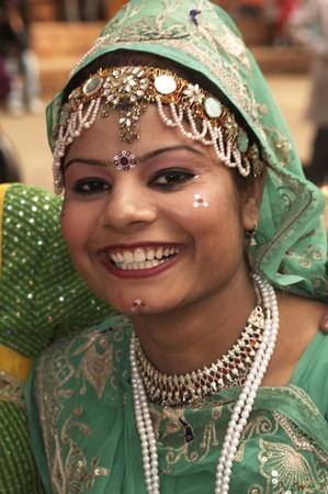 Haryana, India - February 15, 2007: Indian lady in tribal dress at the Surajkund Fair Haryana India