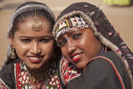 haryana: Haryana, India - February 15, 2007: Indian dancers in traditional dress of a Rajasthani gypsy