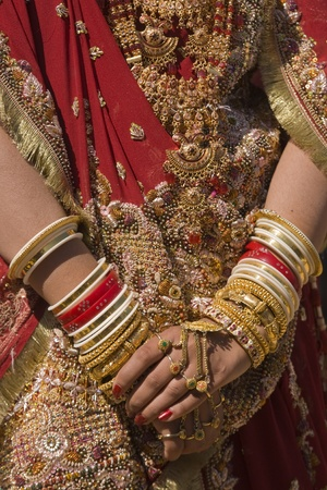 Hands of an Indian bride adorned with jewelery, bangles and painted with henna.