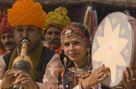 haryana: Haryana, India - February 7, 2008: Indian folk group playing musical instruments