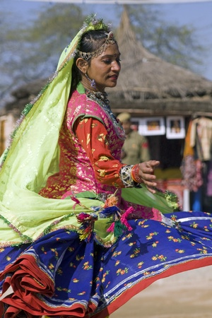 Haryana, India - February 11, 2008: Indian woman dancer from Rajasthan in action