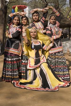 kalbelia: Haryana, India - February 11, 2008: All female traditional Indian kalbelia dance group