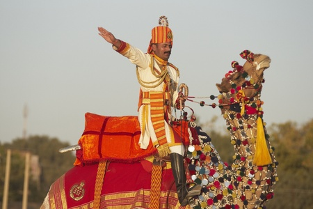 Jaisalmer, Rajasthan, India - February 20, 2008: Uniformed officer in brightly coloured uniform and riding a camel saluting at the Desert Festival, Jaisalmer, Rajasthan, India
