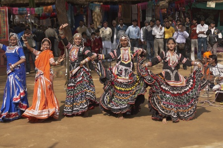 sarujkund: Delhi, India - February 13, 2009: Tribal dancers at the Sarujkund Fair near Delhi, India