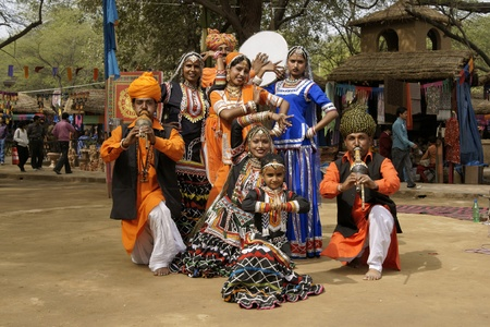 Delhi, India - February 13, 2009: Tribal dancers and musicians at the annual Sarujkund Fair near Delhi, India