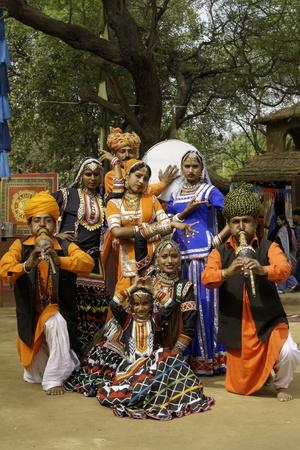 kalbelia: Delhi, India - February 13, 2009: Tribal dancers and musicians at the annual Sarujkund Fair near Delhi, India