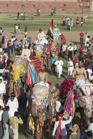 Jaipur, India - March 21, 2008: Group of decorated elephants amongst a crowd of people at the elephant festival, Jaipur, India