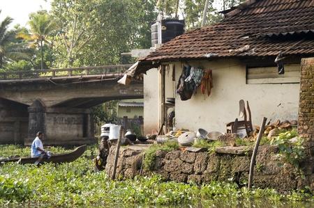 backwaters: Backwaters, Kerala - April 14, 2007: Indian house in the backwaters of Kerala