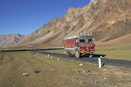 Ladakh, India - August 20, 2008: Colorful truck on the mountain road between Manali and Leh in Ladakh, India