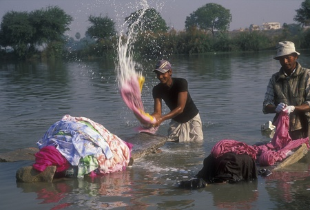 domesticity: Lucknow, Uttar Pradesh, India - December 6, 2006: Indian dhobi wallah in action washing clothes in the river at Lucknow, Uttar Pradesh, India.