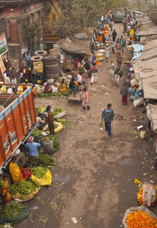 Calcutta, India - December 18, 2008: Busy central flower market in Kolkata, West Bengal, India