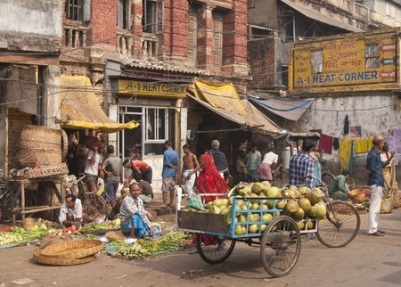 Calcutta, India - December 18, 2008: Busy vegetable market in the Chowringhee area of Kolkata, West Bengal, India
